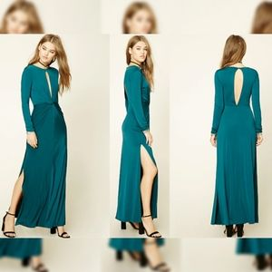 Forever 21 Teal Twist Front Long Sleeve Maxi Dress